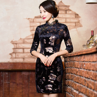 Shanghai Story chinese Style dress Traditional Chinese Dress Floral Painted velvet Cheongsam Qipao Dress for women