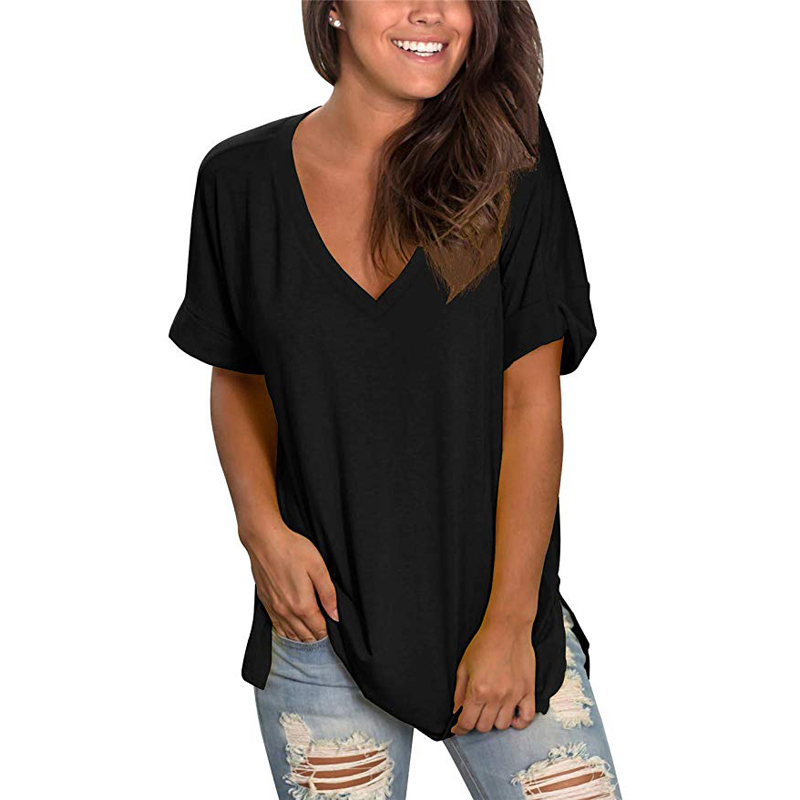 Womens Summer Short Sleeve V Neck Tunic Roll Up Tops Cute Tees Loose Fitted Henley Workout Shirts