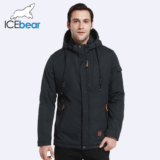 ICEbear 2017 Outer Pocket Zipper Design Men Jacket Spring Autumn New Arrival Casual Fashion Parka Solid Thin Cotton Coat