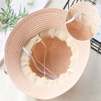 Baby Girls Children Straw Beauty Floral Hat Baby Sun Hat Girl Summer Cap Beach Visor Hat Straw Bag Two-Piece Sets 1