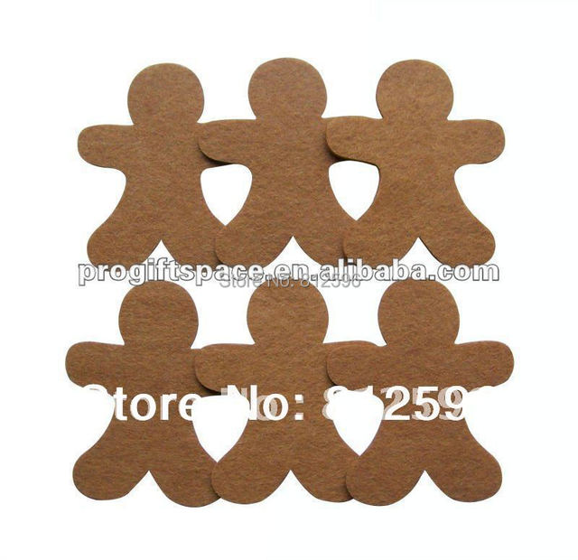 Free Shipping 60pcs 2016 Winter Fashion Laser Crafts Polyester Felt Christmas Gingerbread Man Decor Scrapbooking DIY Ornaments