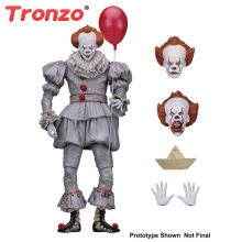 Tronzo Action Figure NECA IT Pennywise Figure 18cm IT Clown Model Collection Decor For Halloween Gift(China)
