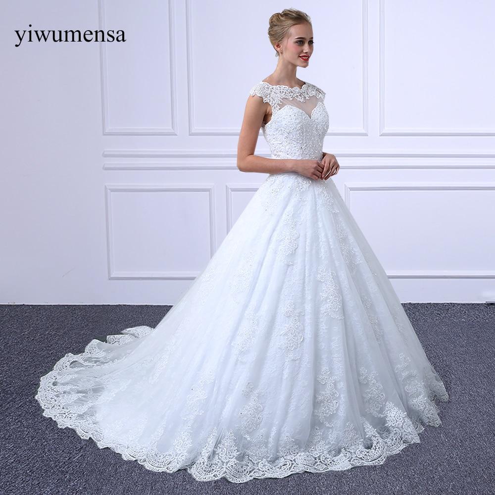 Yiwumensa vestidos دي noiva قصيرة الأكمام - فساتين زفاف