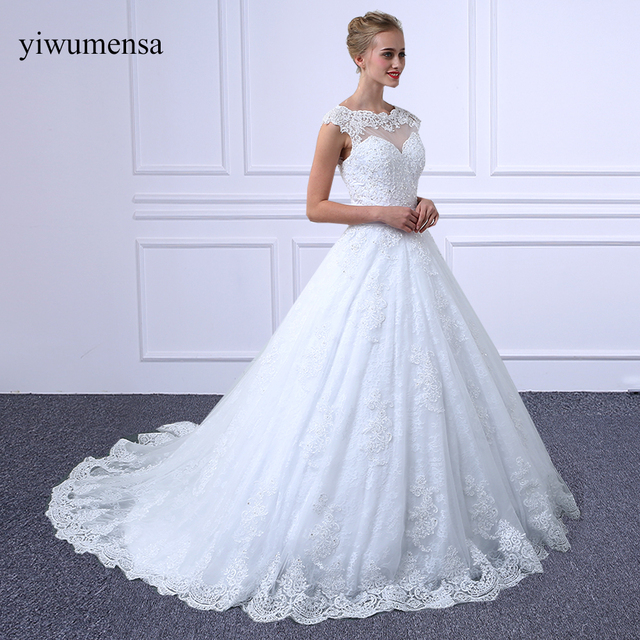 Yiwumensa Vestidos De Noiva Short Sleeves Lace A Line Wedding Dress Long Train 2018 Robe