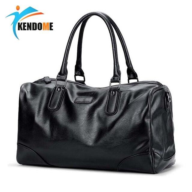 84147ce10bc0 US $28.18 49% OFF|Top Quality Men Classic Soft Leather Fitness Training Gym  Bag Black PU Leather Duffel Sports Gym Bag Shoulder Travel Handbag-in Gym  ...
