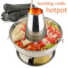 High quality 3.8 liter stainless steel hot pot chafing dish Mongolian lamb Chinese antique cooker picnic Kitchenware