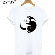 Yin Yang Cat Women tshirt Casual Cotton Hipster Funny t-shirt For Lady Yong Girl Top