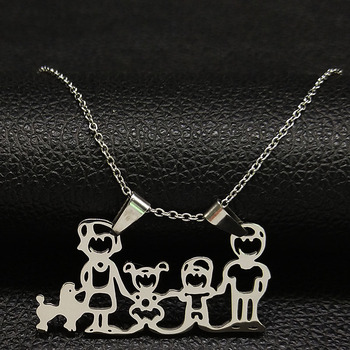 Unisex Family Necklace Jewelry Necklaces Women Jewelry Metal Color: 1 boy 1girl Dog