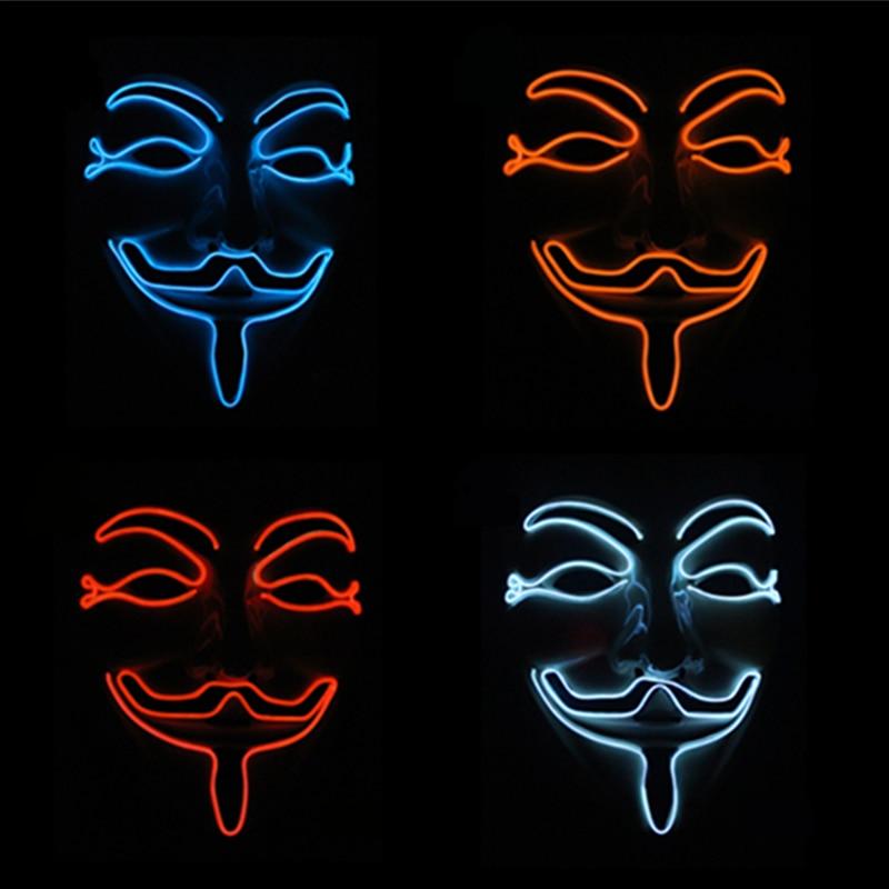 Halloween Maske Vendetta EL Draht Maske Blinkende Cosplay LED MASKE ...