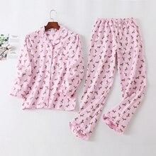 Dámské pyžamo s obrázky psů – kalhoty a košile na knoflíky s límečkem