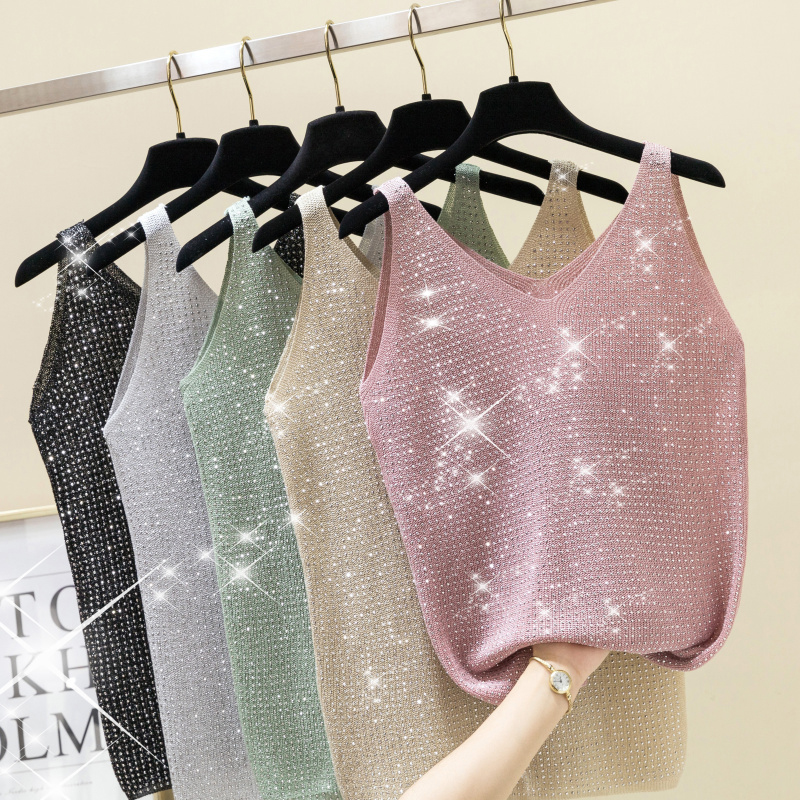 T-Shirt Tank-Tops Lurex Diamond Knitted Vest Camis Streetwear Shiny Sexy Female Casual