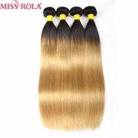 Hoa hậu Rola Tóc Pre-màu 4 Bó Sợi Tóc Người Ombre Sản Phẩm Brazil Straight Hair T/1b Màu Vàng Nhạt màu Tóc Phi-remy
