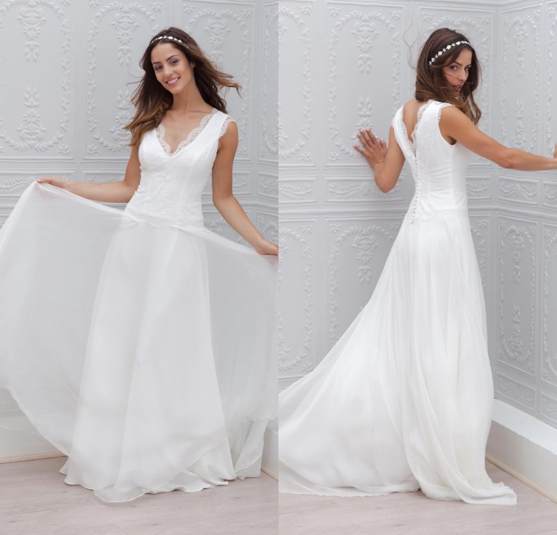 418cf9893 2015 nueva moda vestido de novia barato playa de la gasa vestidos de verano  superior del cordón del estilo en Vestidos de novia de Bodas y eventos en  ...
