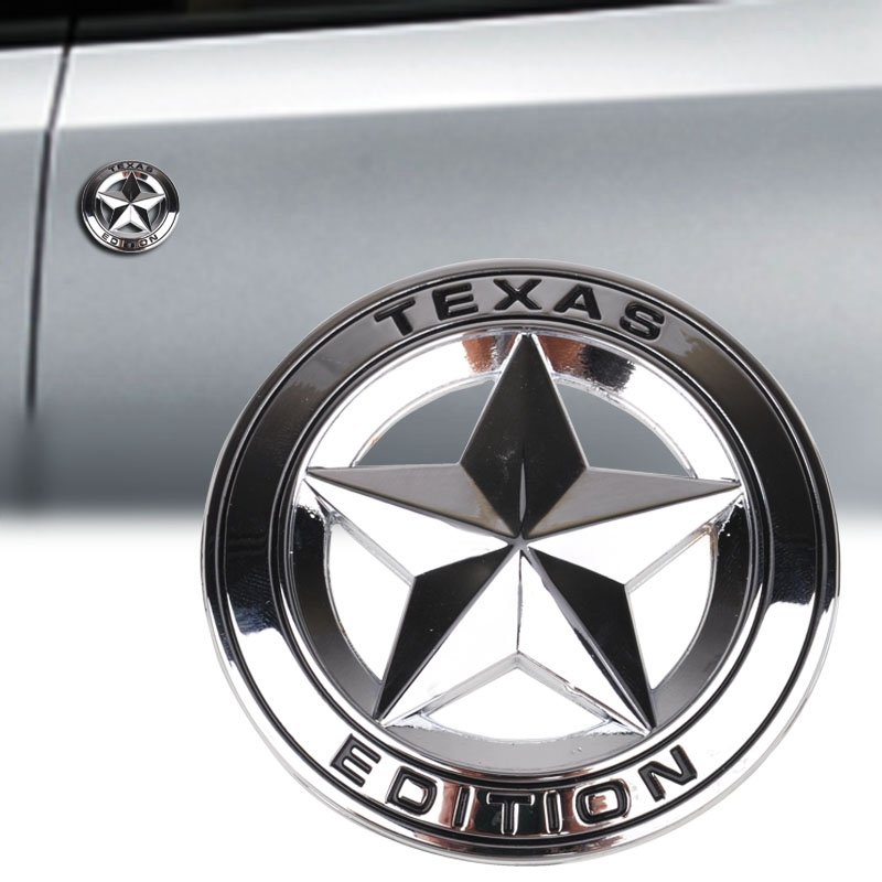 MAYITR 3D Metal Texas Edition Emblem Hollow Out Star Sticker Car Badge Decal Stickers for Ford Chevy Silver/Black Car Styling mayitr metal 3d black limited edition sticker universal car auto body emblem badge sticker decal chrome emblem car styling