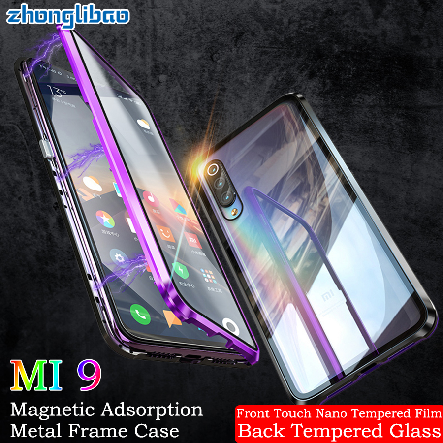 Double Sided Glass Case for <font><b>Xiaomi</b></font> Mi 9 <font><b>Mi9</b></font> Transparent M9 Luxury Magnetic Adsorption Metal Front Back 360 Full Protector Cover image