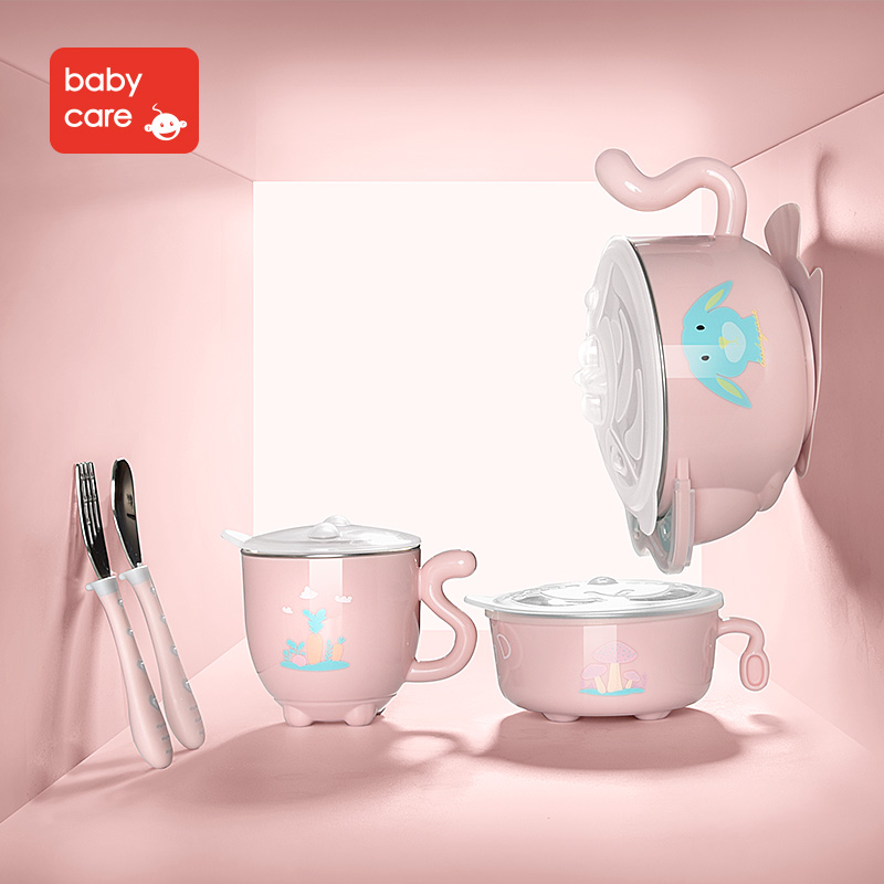 BabyCare 5pcs/sets Baby Newborn Food Dinnerware Set Baby Stainless Steel Bowl Spoon Cup Fork Tableware Set Kids Food Container