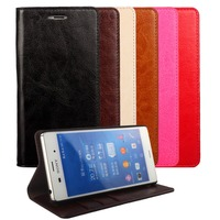 For Sony Xperia Z3 Case Crazy Horse Genuine Leather Wallet Stand Cover Case For Sony Xperia