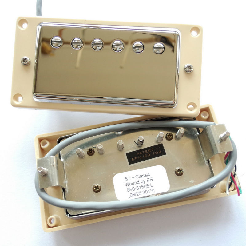 1 Set  Electric Guitar Humbucker Pickups for G class57 Class57+ Nickel Cover humbucker pickup for electric guitar double coil bridge and neck pickups set replacement chrome