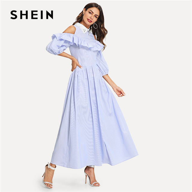 e35feac27f SHEIN Blue Cold Shoulder Bishop Sleeve Ruffle Striped Dress Elegant Fit and  Flare Maxi Dresses Women Casual Autumn Dress