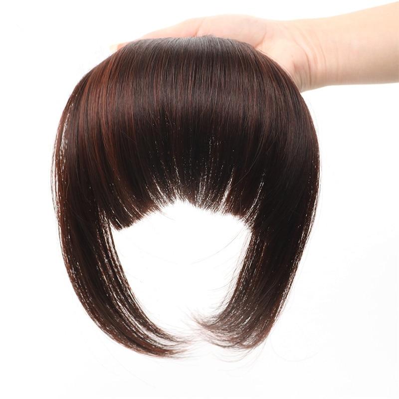 Sego Gerade 3 Clip-in Menschlichen Stumpfen Pony Kehr Seite Pony Vordere Haar Fransen 100% Menschliches Haar 1 Stück Nur Schwarz Braun Blond Haarverlängerung Und Perücken