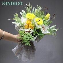 INDIGO -Yellow Bouquet Gift Lavende+Cymbidium+Daisy Flower Arrangement handmade Wedding Bride Party Event Free Shipping