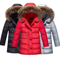 Russian Winter Children's Down Jackets 2016 New Boys Fur Hooded Duck Down Coats Kids Casual Thickening Warm Jacket Cold Winter