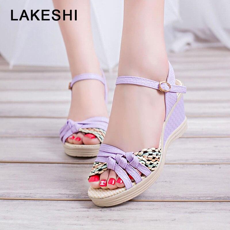 LAKESHI Bohemian Wedge Sandals Summer Women Sandals Casual Women Shoes Fashion Cork Woven Shoes Women Beach Sandals Ladies Shoes стоимость
