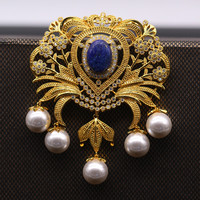JINYAO Vintage Flowerl Pearl Lapis Lazuli AAA Cubic Zircon Gold Color Brooch Pin Pendant For Women