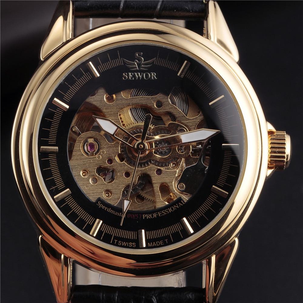 3092cdeeb1dd2 Sewor ساعات الرجال أعلى ماركة الجوف الذهب الهيكل العظمي التلقائية  الميكانيكية ووتش رجالي جلدية حزام اللباس ساعة steampunk erkek سات