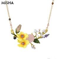 MISHA Trendy Necklace For Women Yellow Flower Shape Jewerly Handmade Enamel Glazed Luxury Jewelry Necklace For Girls Gifts L957