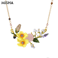 MISHA Trendy Necklace For Women Yellow Flower Shape Jewerly Handmade Enamel Glazed Luxury Jewelry Necklace For Girls Gifts L957