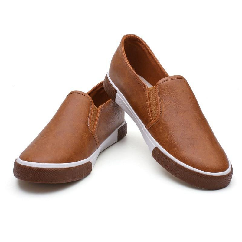Appartements Plat white Black En Casual Cuir Mocassins Printemps Chaussures Respirant khaki Glissent Hommes Mode Sneakers Vulcanisé Blanc Sur Rétro q8wHTaZ