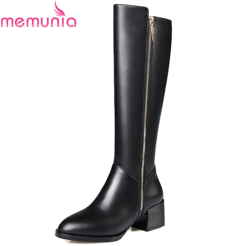 MEMUNIA High heels shoes woman knee high boots genuine leather + PU womens boots fashion top quality large size 34-43 memunia big size 34 43 over the knee boots for women fashion shoes woman party pu platform boots zip high heels boots female