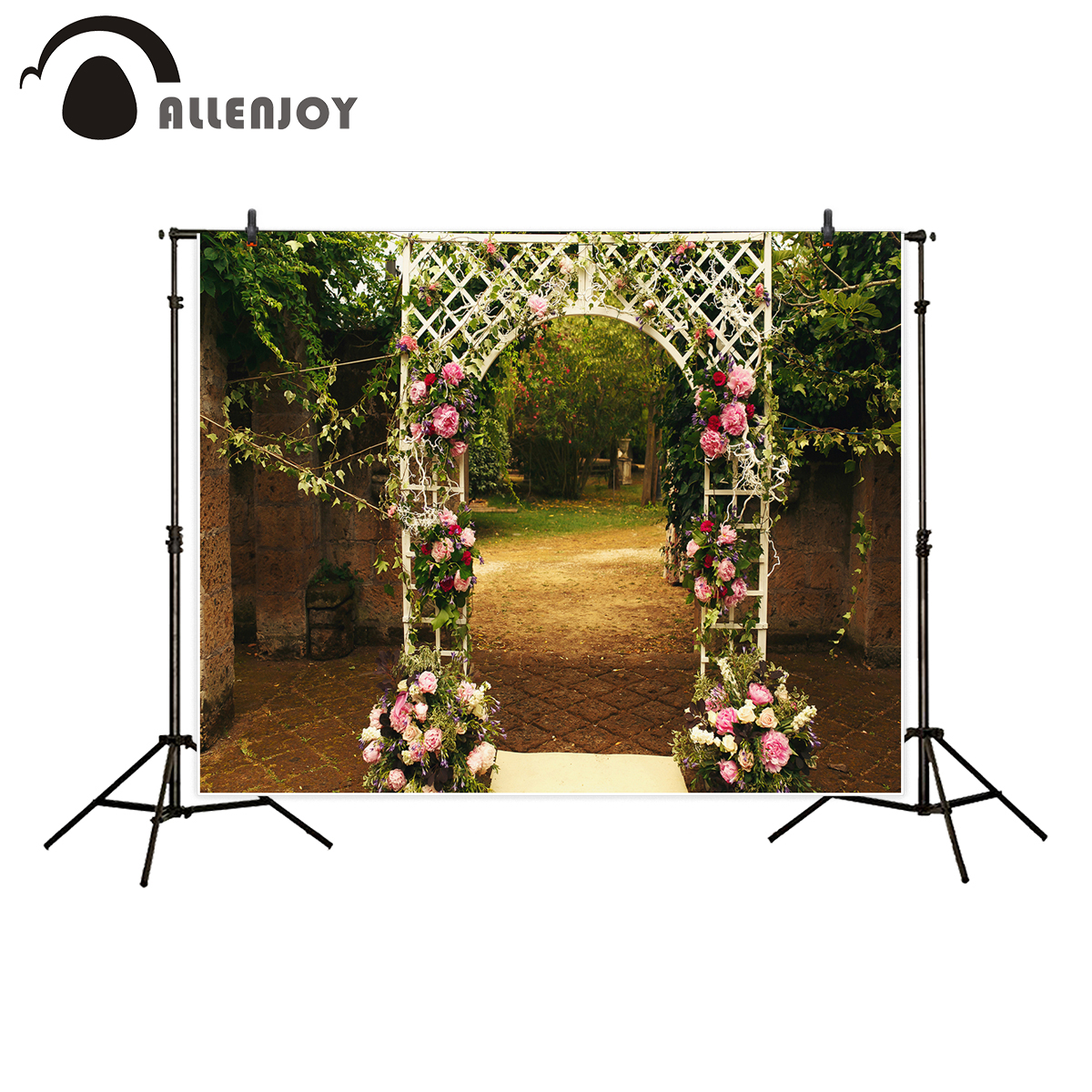 Allenjoy photography backdrop for photo studio wedding flower door garden retro tree background props printed photobooth allenjoy background for photo studio full moon spider black cat pumpkin halloween backdrop newborn original design fantasy props