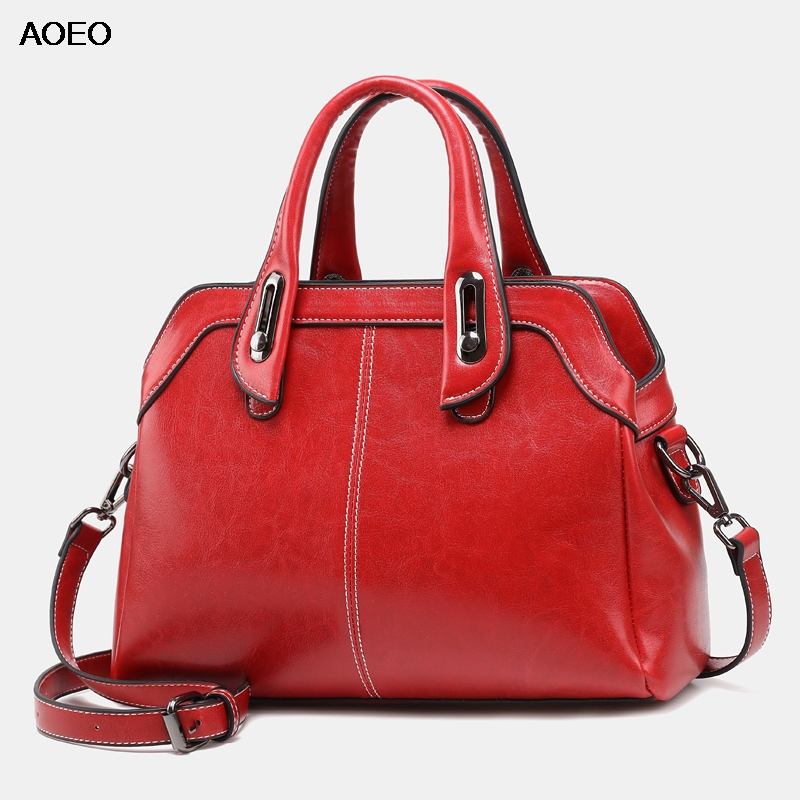 AOEO Luxury Handbags Women Bags 2019 New Design Black Brown Red Oil Wax Leather Large Vintage