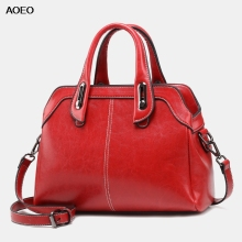 AOEO Luxury Handbags Women Bags 2019 New Design Black Brown Red Oil Wax Leather Large Vintage Ladies Shoulder Bag
