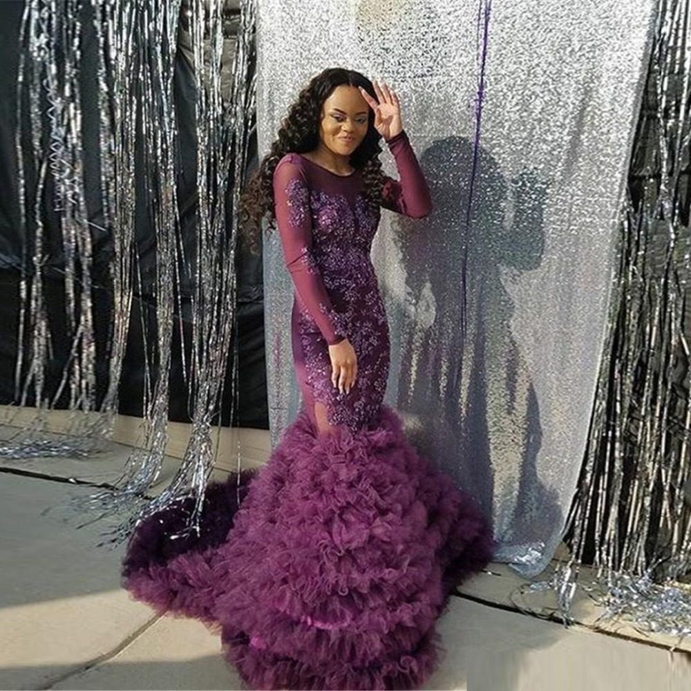 212be7dee1 US $162.54 14% OFF|Aso Ebi Style Formal Dresses Purple Long Sleeve Ruffle  Lace Nigerian Evening Gowns African Womens Dresses Lace Beaded Prom Gown-in  ...