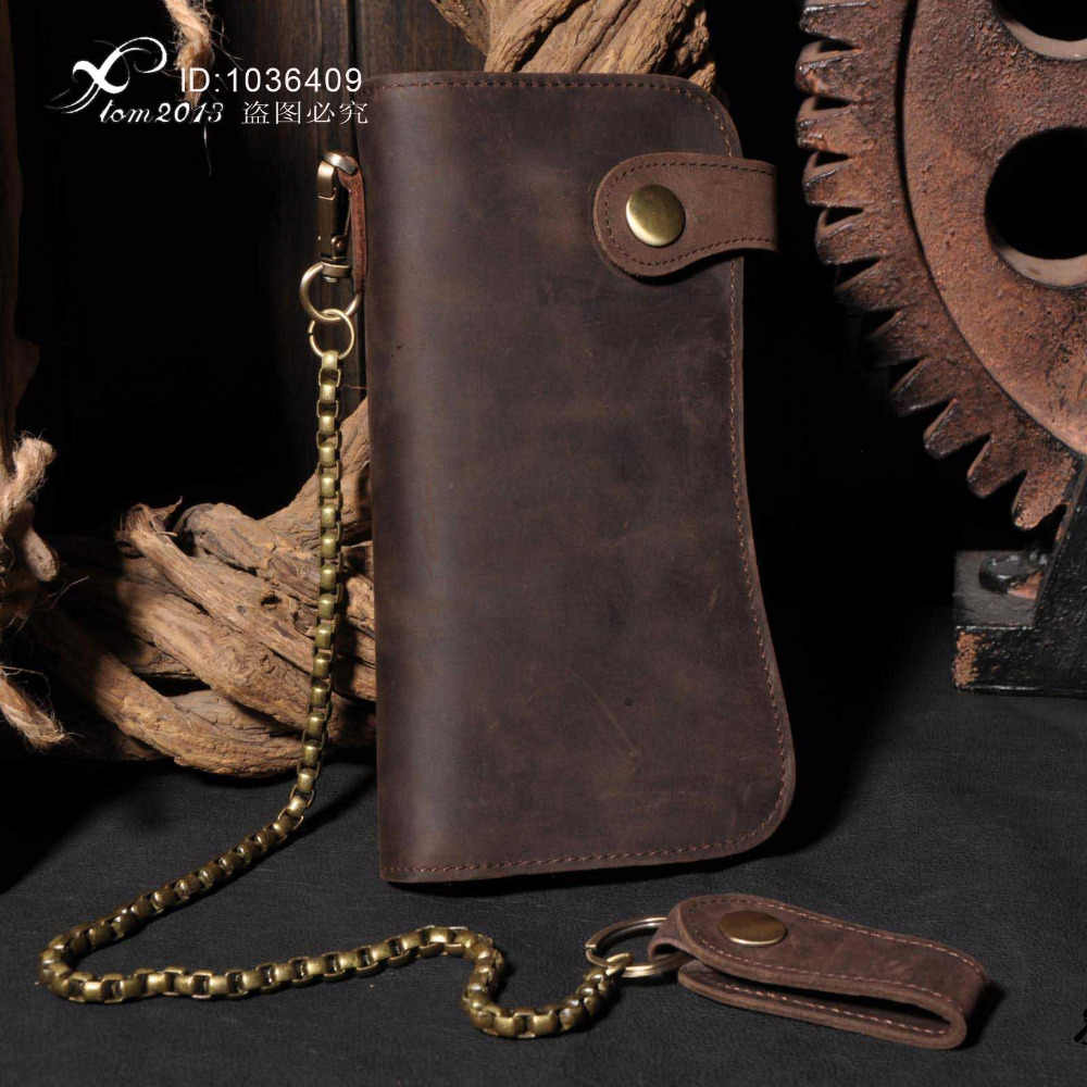 b66e90d3912 Men s Motorcycle Long Brown Leather Billfold Wallet With Jeans key chain