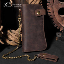 Mens Motorcycle Long Brown Leather Billfold Wallet With Jeans key chain