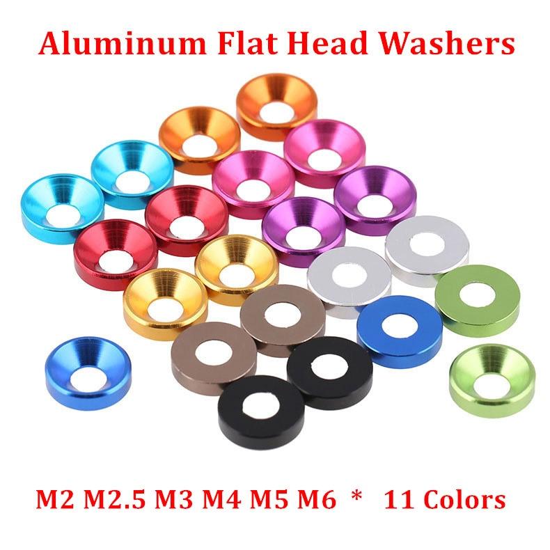 10pcs M2 M2.5 M3 M4 M5 M6 Aluminum Alloy Countersunk Head Washers for Flat Head Screw Bolt Gasket Aluminum Cone Washer Anodized