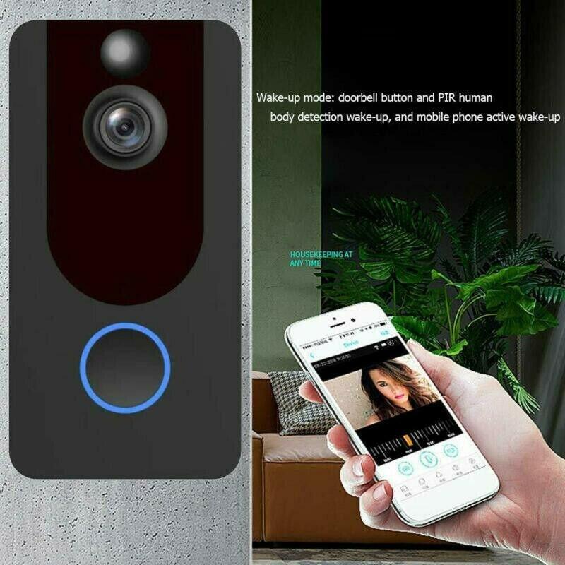 V7 Smart WiFi Doorbell Camera Video Wireless Remote Bell CCTV Chime Phone APP