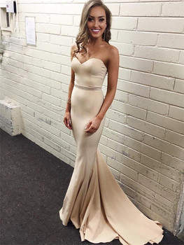 Elegant Light Champagne Mermaid Bridesmaid Dresses Strapless Floor Length Elastic Satin Simple Wedding Party Dress Cheap