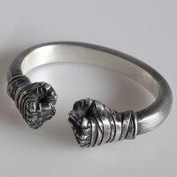 925 пробы Серебряный двойной Кулак Открытый браслет манжета бинты кулак браслет для мужчин s Личность ювелирные изделия подарки на день рожд