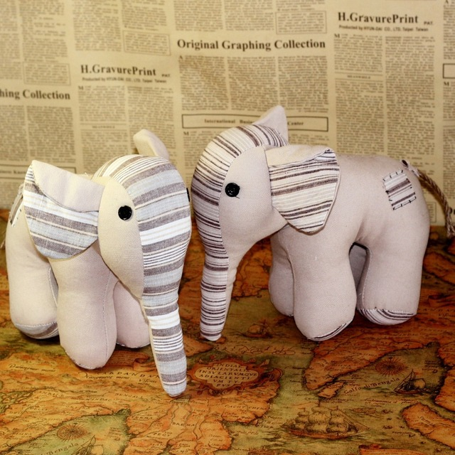 zakka handmade cloth doll furnishing articles sweet stripe splicing elephants home decor nautical fabric crochet hook