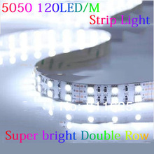 5M/lot  Non-waterproof double Row 12V 5m 5050 SMD 600LED 120leds/m led strip light white / warm white/RGB