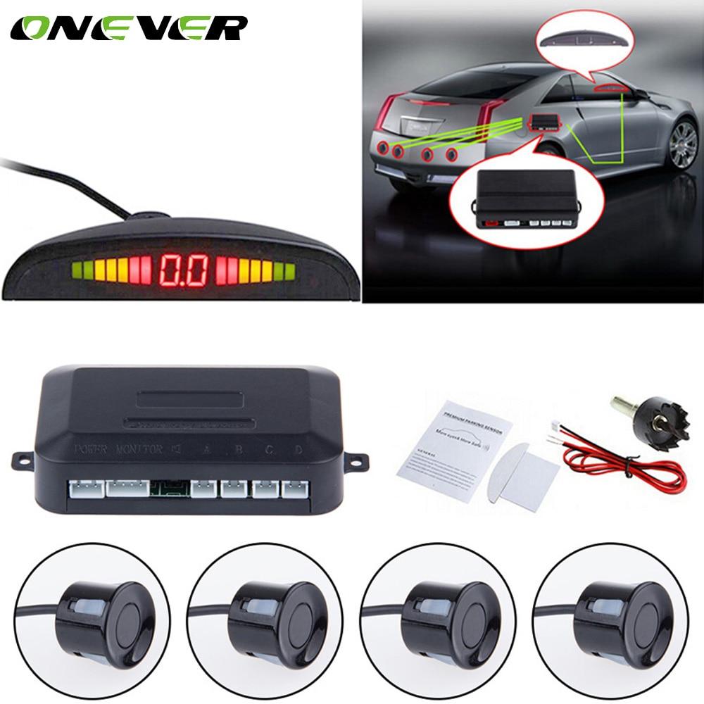 ONEVER 1 компл. Авто Радар-парковка Сенсор LED Подсветка Дисплей 4 Датчики обратный резервный Мониторы детектор Системы для всех автомобили
