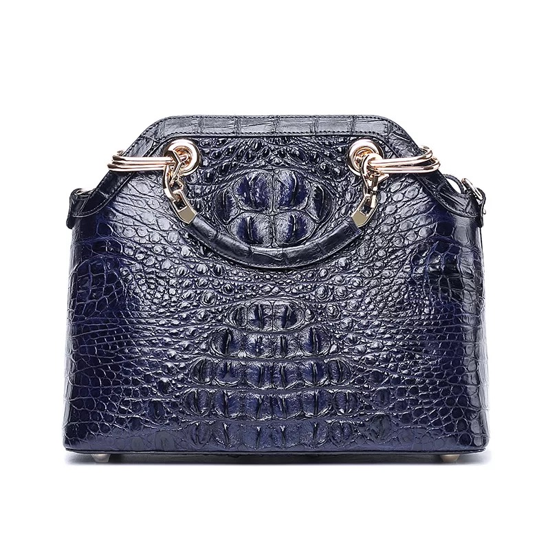 купить Fancy Designer 100% Genuine Alligator Skin Golden Metal Handle Women Handbag Crocodile Leather Female Single Cross Shoulder Bag по цене 30408.81 рублей