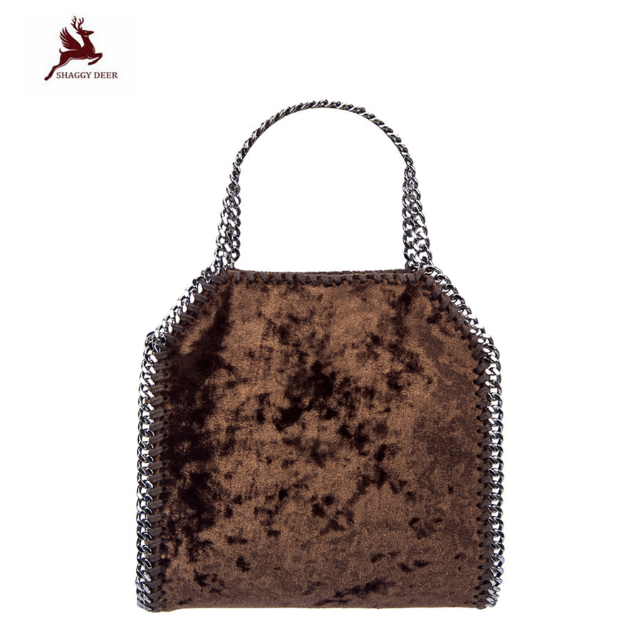 Shaggy Deer Exclusive Personalized NEW Quality Mini 18cm Lady Velvet Soft Fold-Over Crossbody Chain Handbag Crossbody New Bag metal deer detail crossbody bag