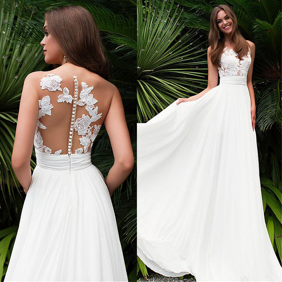 Elegant Tulle Chiffon Jewel Neckline See-through Bodice A-line Wedding Dress With Lace Appliques Cheap Bridal Dresses
