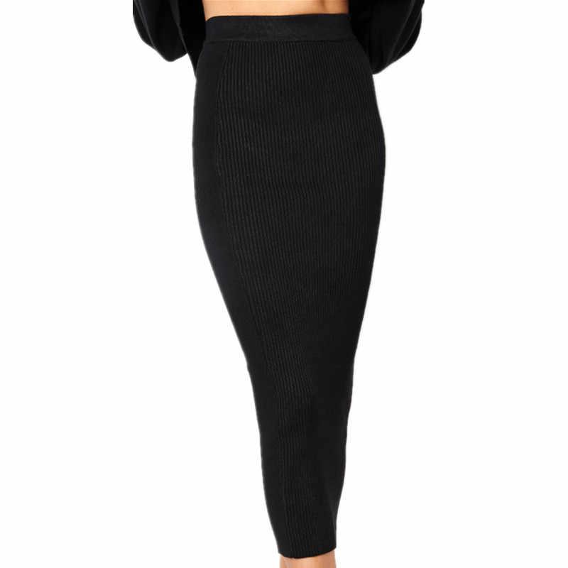 2e4e521647deb 2018 Knitted Autumn Bodycon Long Skirt Sexy Black White High Waist Tight  Women Maxi Elegant Party Club Wear Pencil Skirts